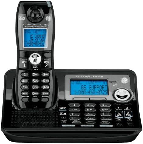 GE DECT 6.0 Digital negro 2 líneas Teléfono Único Teléfono inalámbrico con sistema de respuesta (28165fe1): Amazon.es: Electrónica