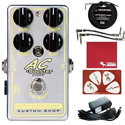 Xotic Effects AC Booster Comp Boost Overdrive Pedal with Polish Cloth, Pick Card, Patch Cables, 10 ft Cable, and 9V Power Supply