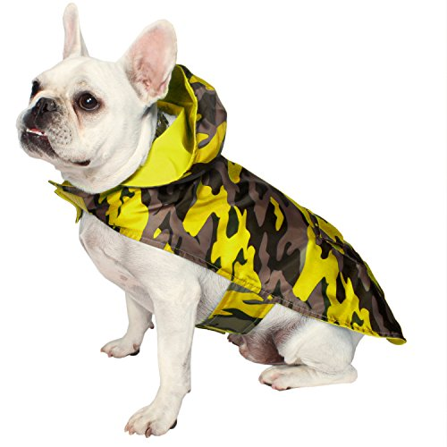 c2fa7c420b8e7 Jelly Wellies Premium Quality Waterproof Reversible Camouflage Raincoat for  Dogs- X-Small, Yellow