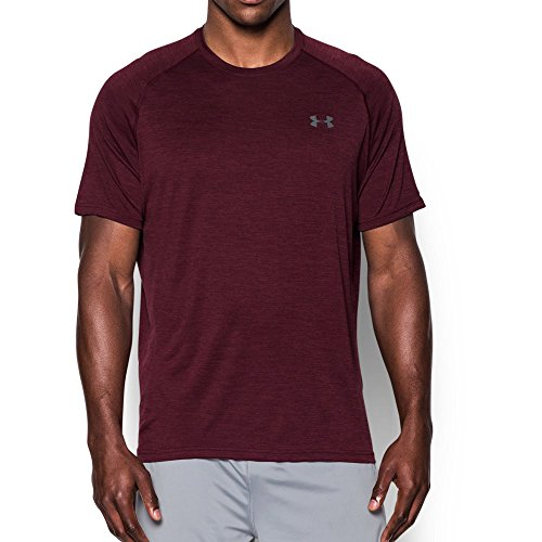 Under Armour Men's Tech Short sleeve T-Shirt, Dark Maroon/Graphite, Small by Under Armour
