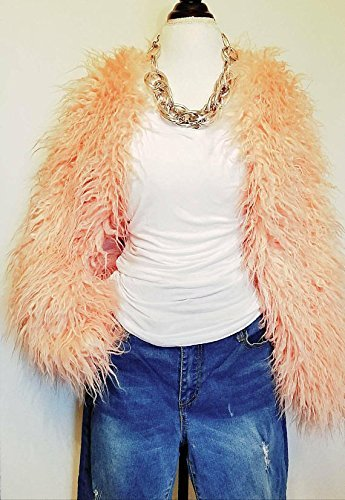 Pink Mongolian Faux Fur Shrug Jacket HANDMADE IN TEXAS, U.S.A. by E by Evelyn Designs