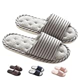 MAGILONA Women Mens Unisex Washable Cotton Open-Toe Home Slippers Indoor Shoes Casual Flax Soft Non-Slip Sole Shoes (5-6.5B/240mm 37-38, Grey#2)