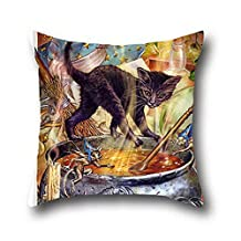Goling Bbay Oil Painting Black Cats Halloween Cotton Blend Throw Pillow Cushion Covers ( 20*36 )
