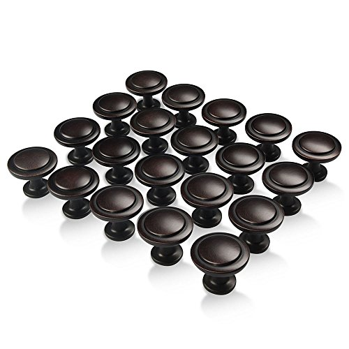 Amazer Round Knobs, Oil Rubbed Bronze Traditional Cabinet Hardware Round Pull Knob with Random Lines - 1-1/4