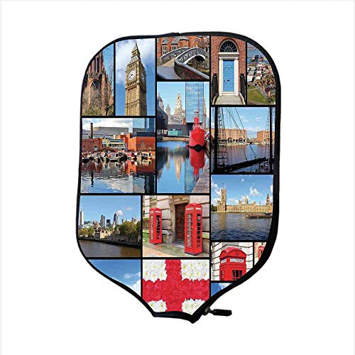 iPrint Neoprene Pickleball Paddle Racket Cover Case,England,England City Red Telephone Booth Clock Tower Bridge River British Flag with Flowers,Blue Red,Fit for Most Rackets - Protect Your Paddle