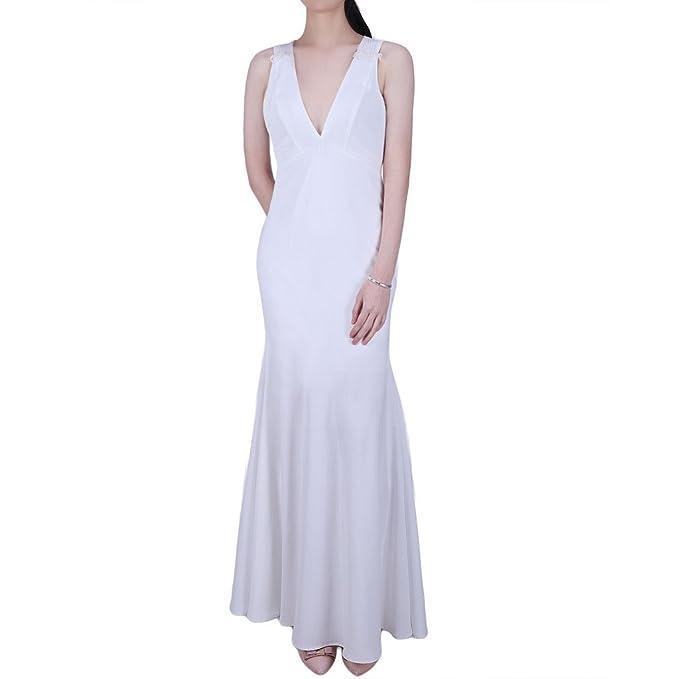 Ingsist Mujer Cuello en V profundo Vendimia Blanco Vestidos de boda Vestido de fiesta Atrás a