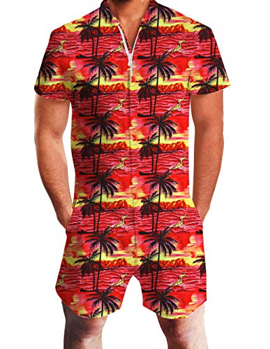 UNIFACO Men Male 3D Tropical Outfits Hawaiian Palm Tree Red Printed Summer Beach Zip Up One Piece