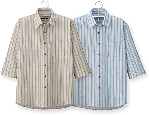 (ポールミラー) Paul Miller 日本製 高島ちぢみストライプ7分袖シャツ2色組