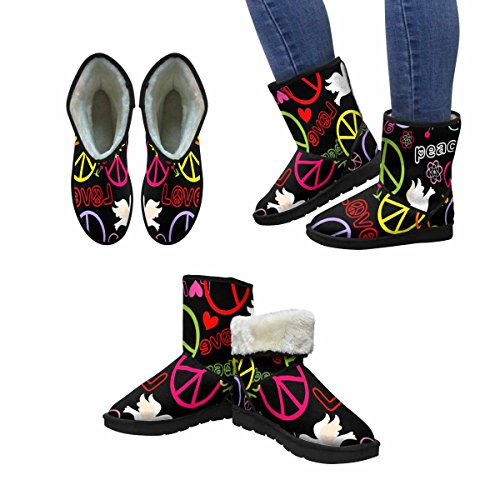 InterestPrint Womens Snow Boots Hippie Wallpaper With Peace Symbol and Doves Unique Designed Comfort Winter Boots Multi 1 LNytmRmu