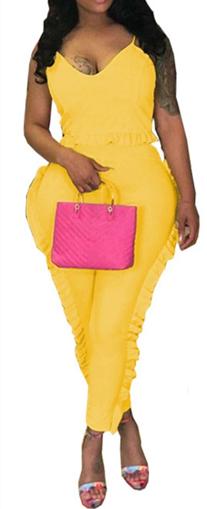 Speedle Sexy 2 Piece Tracksuits For Women Spaghetii Strap Crop + Ruffle Mesh Long Pants Set Yellow XL