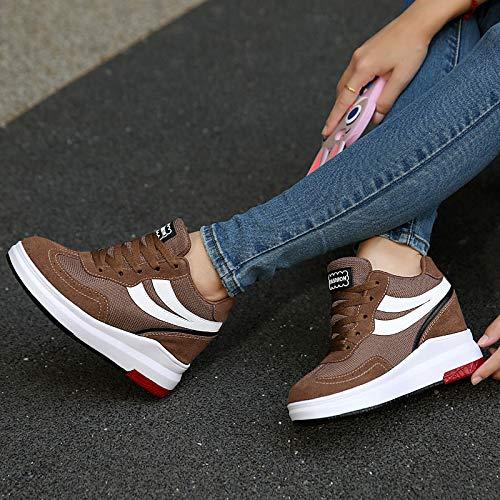 Rojo Azul con para atléticos Cordones de Toe Gray Creepers Fall ZHZNVX Round Tulle Zapatos Zapatos Caminar Spring Wedge Heel Zapatos Café Mujer nH8vvRTxwq
