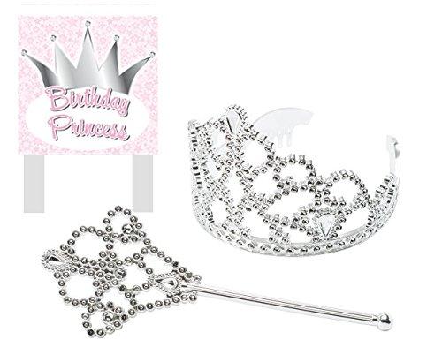 CakeSupplyShop Princess Crown Tiara and Wand Cake Topper Kit with Birthday Princess Plaque