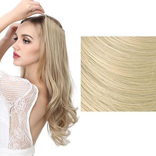 SARLA Halo Synthetic Hairpieces Flip in Women Hair Extensions Natural Wave Hidden Halo Hair Extensions M01 (24/613 Pale Ash Blonde)