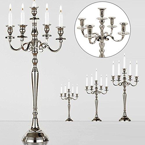 Kerzenleuchter 5-armig Silber-Optik vernickelt 40cm - Kerzenständer Kerzenhalter Kerzen Leuchter Kandelaber