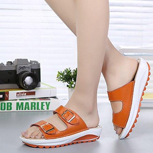 VWU - Sandalias de vestir de Piel para mujer naranja