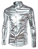 stage clothes - JOGAL Mens Trend Nightclub Styles Metallic Silver Button Down Shirts X-Large Silver