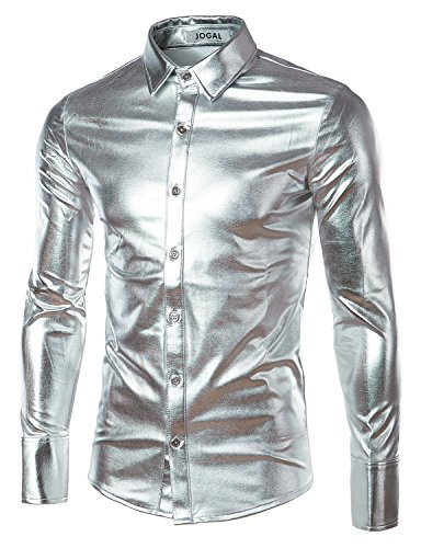 (JOGAL Mens Trend Nightclub Styles Metallic Silver Button Down Shirts Large Silver)
