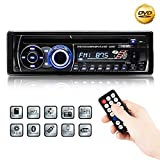 Favoto Car Stereo Single DIN Multi EQ Modes Car FM Radio DVD Player/CD Bluetooth 12V Support Remote Control Via Smartphone Charger For Electronic Devices Supporting U Disk, Micro SD Card