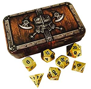 Skull Splitter Dice- Gold Color- Solid Metal Polyhedral Role Playing Game (RPG) Dice Set (7 Die in Pack) with Box