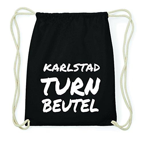 JOllify KARLSTAD Hipster Turnbeutel Tasche Rucksack aus Baumwolle - Farbe: schwarz Design: Turnbeutel iG78sybnG