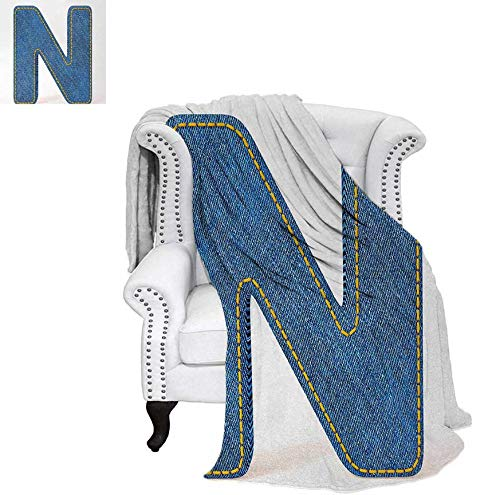 90 Blue In Denim Jean - Warm Microfiber All Season Blanket N Uppercase Letter with Denim Alphabet Font Design Blue Jean Writing System Retro Print Artwork Image 90