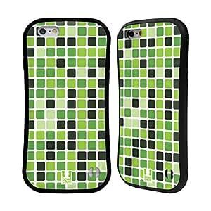Head Case Designs Green Mosaic Tile Hybrid Gel Back Case for Apple iPhone 6 4.7