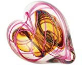 Glass Eye Studio Hearts of Fire Pink, Hand Blown Glass Paperweight