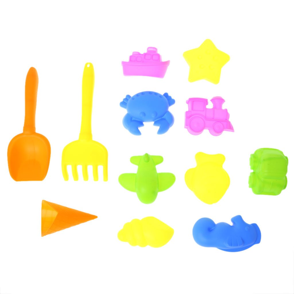 Cugap Sand Mold 12Pcs Tiny Beach Sand Tools Toys Building Model Set For Kids Children Outdoor, Sand Molding Tools Mold Activity Set Compatible with Molding Sand
