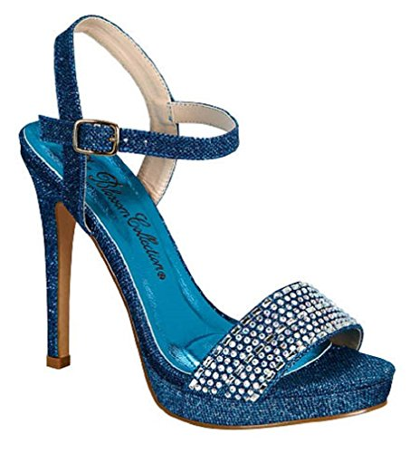Blossom Women's Charlie-12 Dressy High Stiletto Platform Heel Single Strap SandalsSexy Booties Blue -
