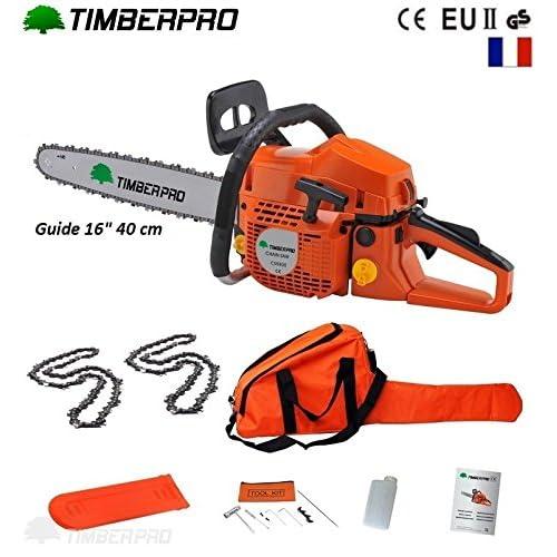 Tronçonneuse thermique 58 cm3, guide 40 cm (16 pouces) 2 chaines + housse de transport et accessoires