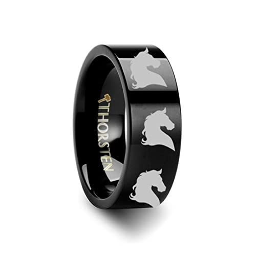 Thorsten Animal Horse Head Equestrian Print Pattern Ring Flat Black Tungsten Ring 6mm Wide Wedding Band from Roy Rose Jewelry