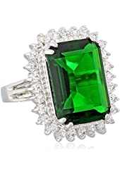 """CZ by Kenneth Jay Lane """"Elegant Cubic Zirconia"""" Rhodium-Plated Emerald-Color Cubic Zirconia Ring, Size 7"""