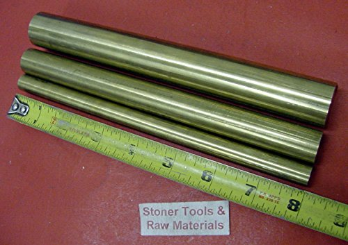 "3 Pieces 1"" , 3/4"" & 1/2"" C360 BRASS SOLID ROUND ROD 8"" long New Lathe Bar Stock 3.51 #"