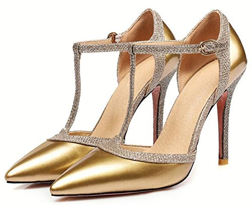 IDIFU Womens Trendy Closed Pointed Toe High Stiletto Heels T-Strap Buckle D-orsay Pumps Shoes Gold tpHyo