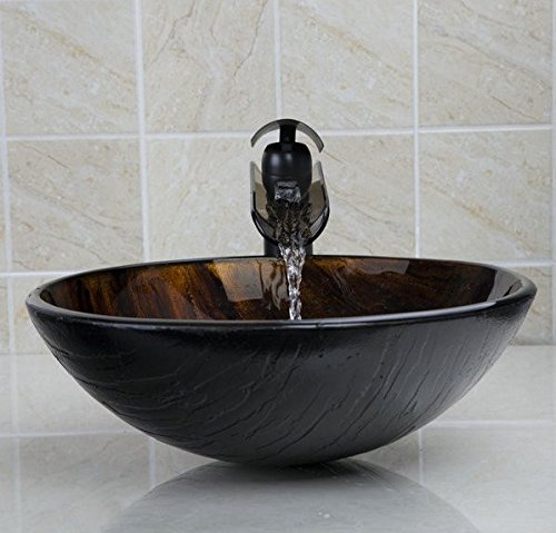 GOWE Tempered Glass Basin Sink With Oil Rubbed Bronze Waterfall Faucet Taps,Bathroom Water Drain Bathroom Sink Set 1