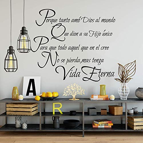 Wall StickerChristian Spanish Lord Quote Wall Decal Bible Verse Religion Family Quote Sticker Vinyl 56X48CM