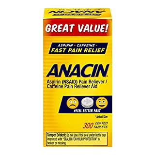 Anacin Aspirin/Caffeine Pain Reliever Aid | 300 Tablets | Fast Pain Relief | Packaging May Vary