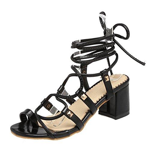 AIYOUMEI Damen Knöchelriemchen Thong Sandalen mit Schnürung und 6cm Absatz Blockabsatz Modern Sommer Schuhe Schwarz
