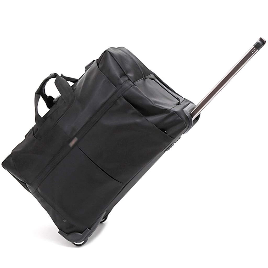 トロリー旅行バッグ、旅行移動家族手荷物パッケージ衣料品雑貨整理パッケージ折りたたみトロリーバッグ黒 (Color : Black, Size : 73*34*46cm) B07SQVV3NN Black 73*34*46cm