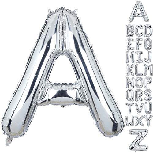 40 Inch Large Letter A Foil Balloons Silver Big Alphabet Mylar Helium Balloon for Birthday Party Decoration Supplies Wedding Decor Girls Custom Word HH(Sliver-A)