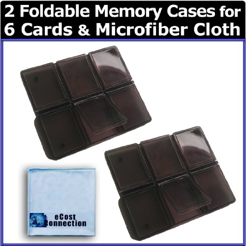 (2) 6pc Foldable Memory Card Cases + Microfiber Cloth by eCost - 6pc Multi Memory Card Holder