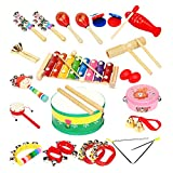 LOHOME 18 PCS Kids Musical Instruments - Percussion Toy Rhythm Band Set for Preschool and Toddler (Instruments)