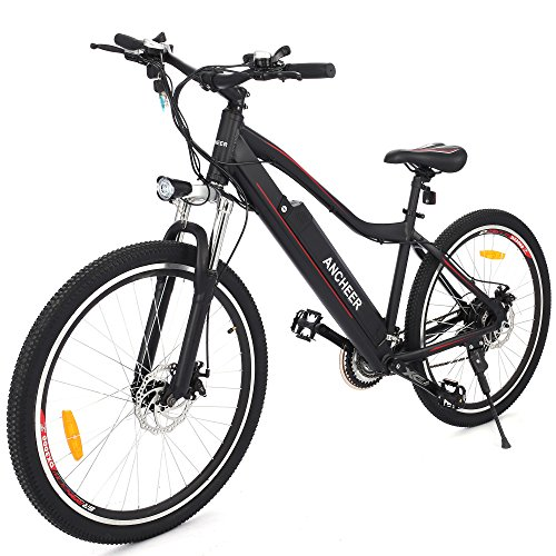 ANCHEER Electric Mountain Bike Approx 24-34 Miles Mileage with Large Capacity Removable Lithium Battery, Aluminum Alloy Frame and Shimano 21-speed Gear (black)