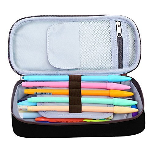 Solar System Vinyl Record Pen Case - Canvas Pencil Bag Large Capacity Stationary Box Double Zipper For Students-Black by PenStar (Image #3)