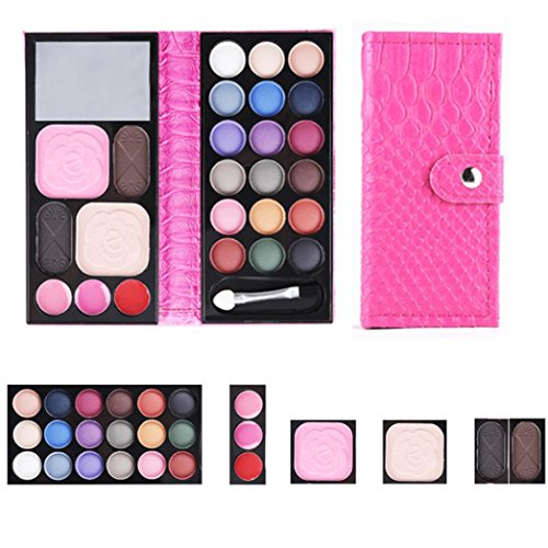 LandFox 32 Colors Eye Shadow Makeup Palette Cosmetic Eyeshadow Blush Lip Gloss Powder (HOT Pink)