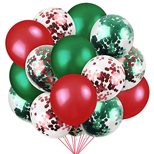 RUBFAC 100 Pieces Christmas Latex Balloons Confetti Balloons, Christmas Valentine's Day and Other Party Decorations, 12 Inches (Red, Green, Various Confetti)