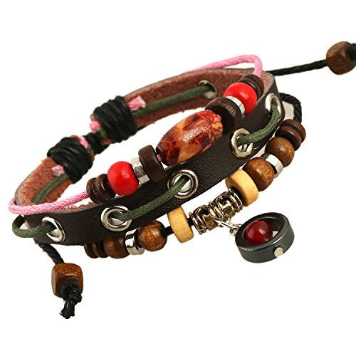 Beaded Three Strand Zen Leather Bracelet with a Black Chromed Colored Charm in with a Red Teardrop, a Brown Wooden Bead with a Red Flower Pattern on it, Colorful Wooden Beads, Chromed Colored Spacers, and One Strand of Light