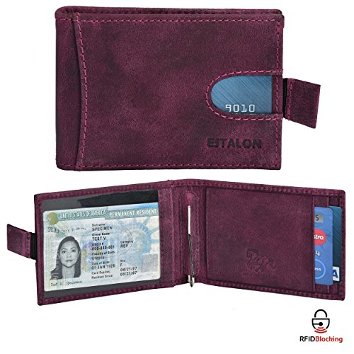 RFID Leather Bifold Wallets for Men - Slim Front Pocket Secure Credit Card Holder with ID Window Mens Wallet Gift Box (4.25x3.5x0.75, Purple Money Clip)