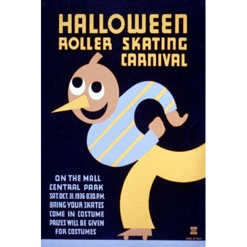 HALLOWEEN ROLLER SKATING CARNIVAL CENTRAL PARK UNITED STATES AMERICAN US USA VINTAGE POSTER CANVAS REPRO -