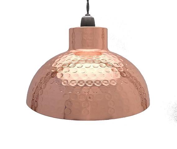 AmazonUkkitchen Country Club - Lámpara de techo (metal, forma de cúpula), metal, cobre, 26 x 15 cm